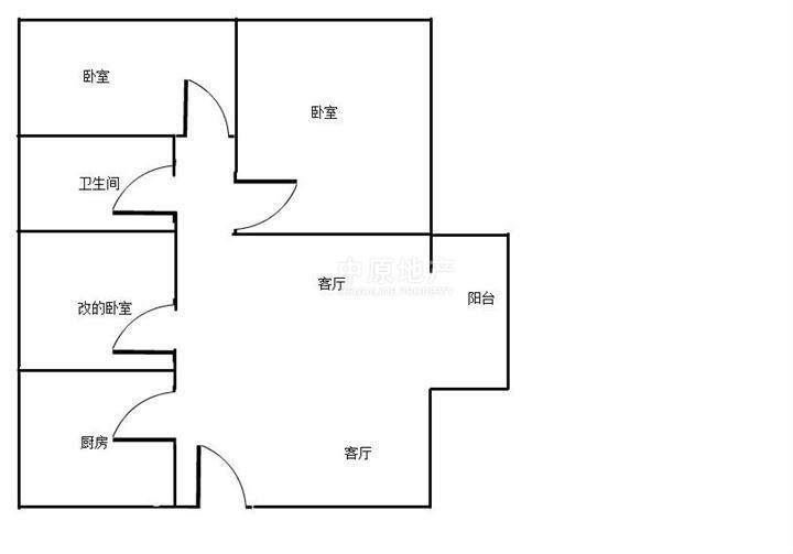 78平米两房一厅设计图